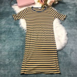 LulaRoe Julia Yellow & Blue Ribbed Dress Size L